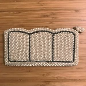 Vintage Japanese Faux Pearl Beaded Clutch Purse